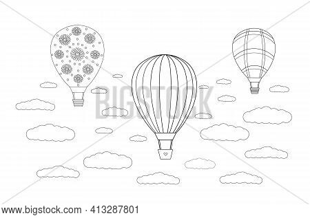 Balloon Festival. Anti-stress Coloring Book. Black And White Vector Drawing With Balloons And Clouds