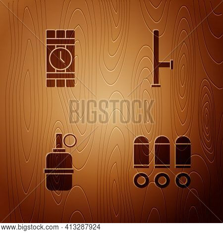 Set Bullet, Dynamite And Timer Clock, Hand Grenade And Police Rubber Baton On Wooden Background. Vec