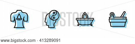 Set Line Aroma Candle, Massage With Aroma Oils, Yin Yang And Sauna Bucket Ladle Icon. Vector