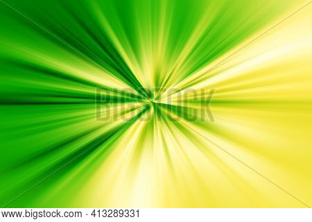 Abstract Surface Of Blur Radial Zoom In Green And Yellow Tones. Bright And Juicy Background With Rad