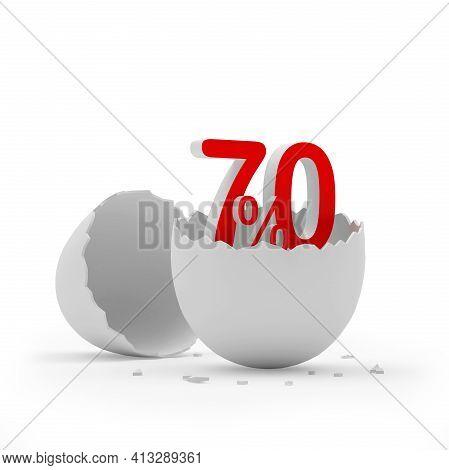 Seventy Percent Sign In A Broken Eggshell. 3d Illustration