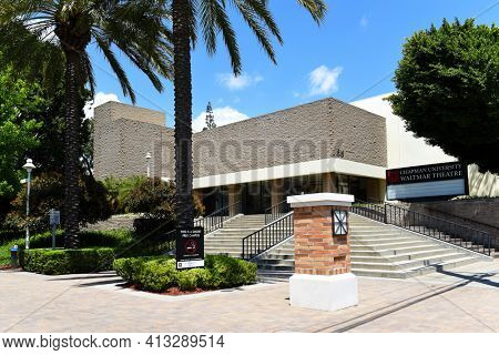 ORANGE, CALIFORNIA - 14 MAY 2020:  The Waltmar Theatre is home to many Theatre and Dance performances on the campus of Chapman University.