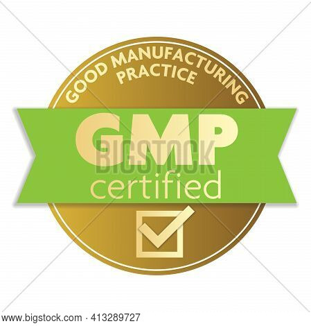 Gold Colored Good Manufacturing Practice Gmp Certifier Label Or Badge Vector Illustration