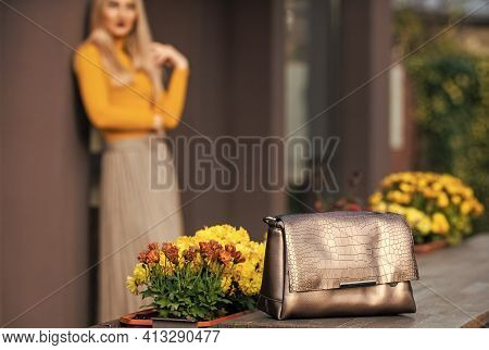 Stylish And Functional. Leather Bag Fashion. Golden Female Bag. Fashionable Accessories Concept. Mat