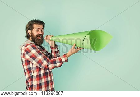 Propaganda Or Truth. Free Man Shouting Into Megaphone. Handsome Man Shouting Through Speaker. Loud A