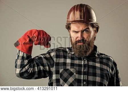 Brutal Hipster Man. Man In Hard Hat. Engineer In Gloves. Construction Worker In Safety Helmet. Weari