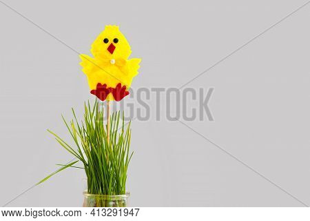 Decorative Fleece Easter Yellow Chicken On A Vase With Grass. Easter Background