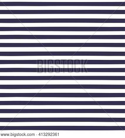 Thick Horizontal Stripes Simple Seamless Geometric Pattern, Blue, White Background. Hand Drawn Vecto