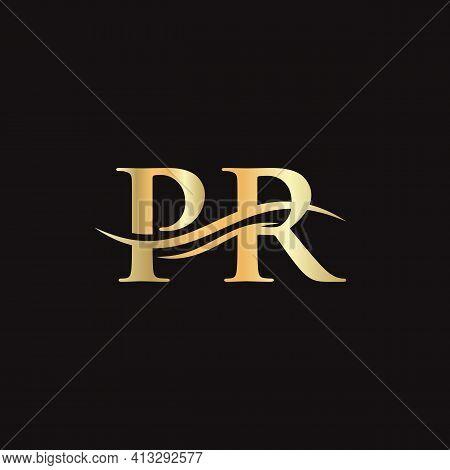 Initial Pr Letter Linked Logo Vector Template. Swoosh Letter Pr Logo Design. Pr Logo Design Vector