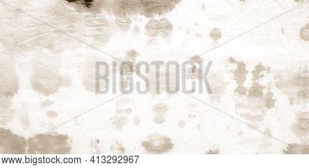 Cream Batik Texture. Stains Watercolour. Artistic Paint Surface. Damaged Craft Vintage Splatter. Age