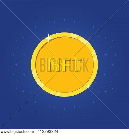 Crypto Art. Nft Golden Coin Icon. Nft Non Fungible Token. Non-renewable Token. Vector Illustration