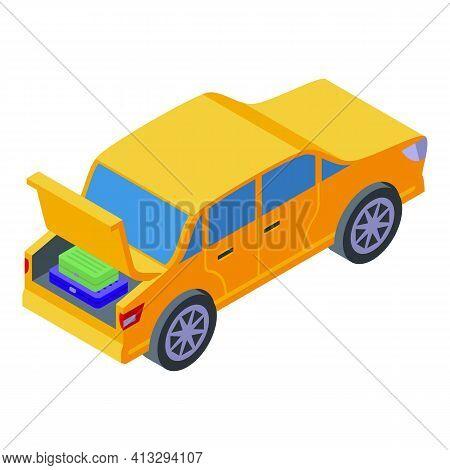 Sedan Trunk Car Icon. Isometric Of Sedan Trunk Car Vector Icon For Web Design Isolated On White Back
