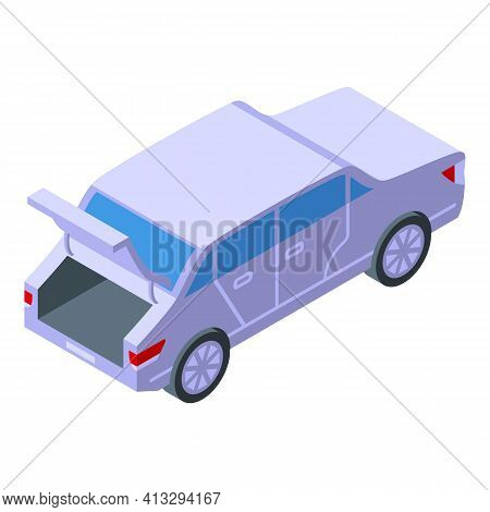 Automatic Trunk Car Icon. Isometric Of Automatic Trunk Car Vector Icon For Web Design Isolated On Wh