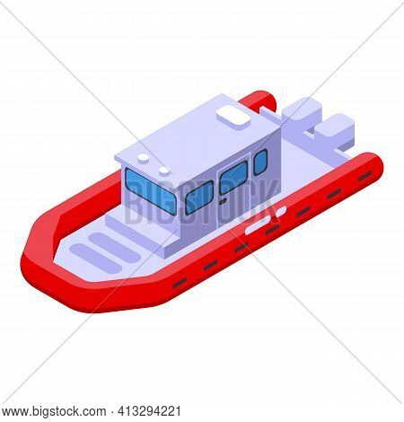 Rescue Boat Icon. Isometric Of Rescue Boat Vector Icon For Web Design Isolated On White Background