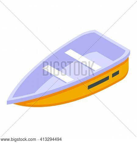 Wood Rescue Boat Icon. Isometric Of Wood Rescue Boat Vector Icon For Web Design Isolated On White Ba