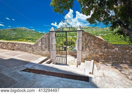 Graveyard Gate From 1885 Ad In Historic Town Of Bribir In Vinodol Valley, Kvarner Region Of Croatia