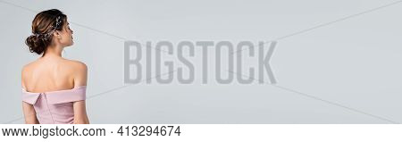 Back View Of Elegant Fiancee Standing With Closed Eyes Isolated On Grey, Banner.