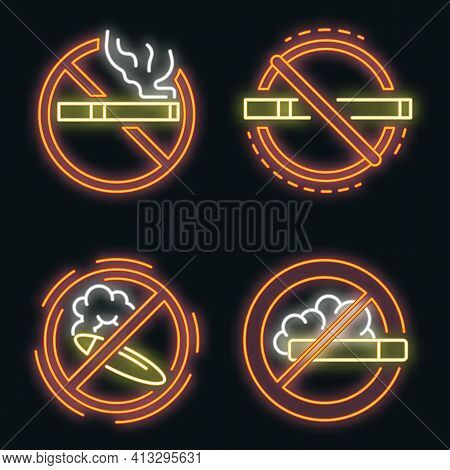 No Smoking Sign Icon Set. Outline Set Of No Smoking Sign Vector Icons Neon Color On Black