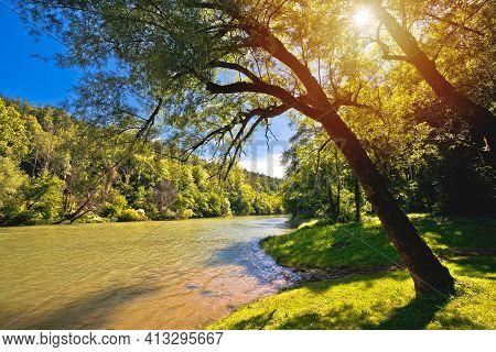 Kupa River Green Landscape Near Severin In Gorski Kotar Region Of Croatia, Border Of Croatia And Slo