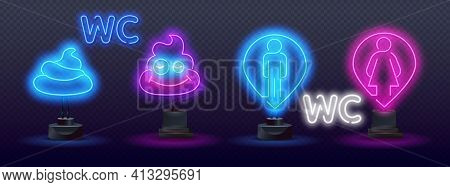 Man And Woman Restroom Neon Sign. Information And Warning Design. Vector Realistic Isolated Neon Sig