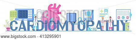 Cardiomyopathy Concept Vector For Medical Website, Header, Blog. Heart Attack, Cardiac Infarction Wi
