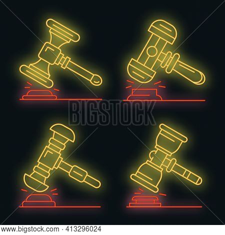 Judge Hammer Icon Set. Outline Set Of Judge Hammer Vector Icons Neon Color On Black
