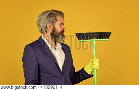 Businessman Cleaner. Bearded Man Cleaning With Mop. Janitor In Gloves. Husband Cleaning House. House