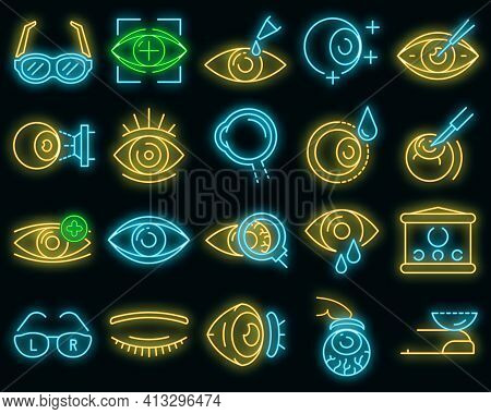 Eyeball Icon Set. Outline Set Of Eyeball Vector Icons Neon Color On Black