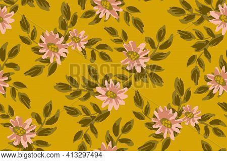 Lovely Wallflower Seamless Vector Pattern. Beautiful Painted Pink Flowers In Classy Palette With Oli