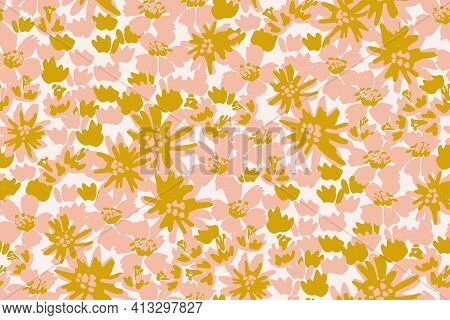 Solid Flower Splash Garden Seamless Vector Pattern. Thick Garden Of Painted Flowers In Three Colors