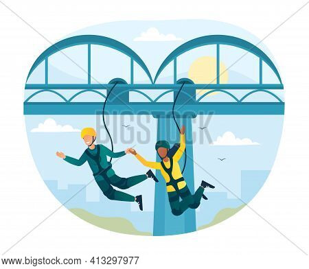 Happy Characters Is Bungee Jumping From A Bridge. Young Fearless Couple Is Enjoing Jumping. Flat Car