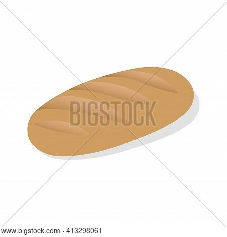 Vector French Bread Icon. Flat Illustration Of Baguette Bread. Healthy Bread Isolated On White Backg