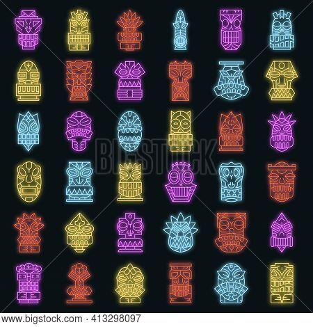 Tiki Idols Icon Set. Outline Set Of Tiki Idols Vector Icons Neon Color On Black