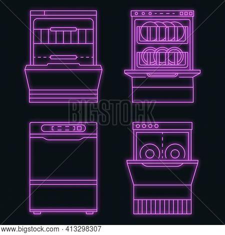 Dishwasher Machine Icon Set. Outline Set Of Dishwasher Machine Vector Icons Neon Color On Black