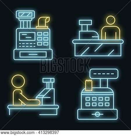 Cashier Icon Set. Outline Set Of Cashier Vector Icons Neon Color On Black