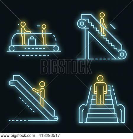 Escalator Icon Set. Outline Set Of Escalator Vector Icons Neon Color On Black