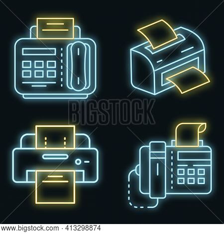 Fax Icon Set. Outline Set Of Fax Vector Icons Neon Color On Black