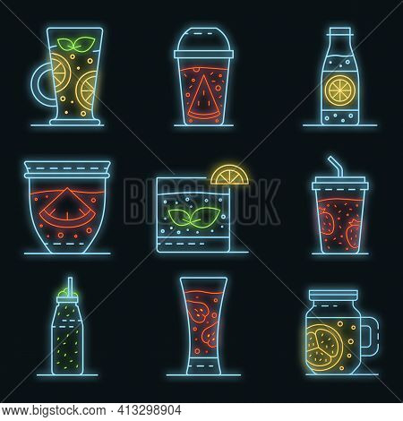 Smoothie Icon Set. Outline Set Of Smoothie Vector Icons Neon Color On Black