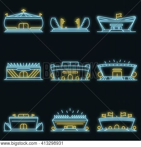 Arena Icon Set. Outline Set Of Arena Vector Icons Neon Color On Black