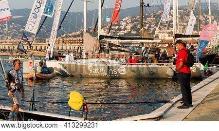 Trieste, Italy - October, 08: The Sailboats Are Docked In The Rive Pier During 52° Barcolana Regatta