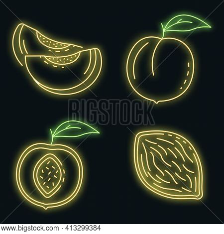 Peach Icons Set. Outline Set Of Peach Vector Icons Neon Color On Black