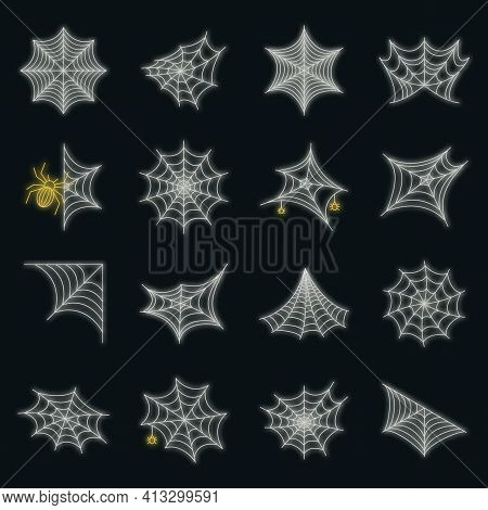 Spider Icon Set. Outline Set Of Spider Vector Icons Neon Color On Black