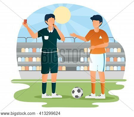Football Soccer Player Of Teammates Referee. Judge Showing Red Card. Flat Abstract Outline Cartoon V