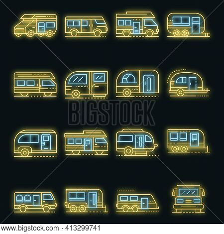 Motorhome Icons Set. Outline Set Of Motorhome Vector Icons Neon Color On Black