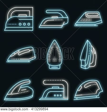 Smoothing-iron Icons Set. Outline Set Of Smoothing-iron Vector Icons Neon Color On Black