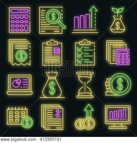Expense Report Icons Set. Outline Set Of Expense Report Vector Icons Neon Color On Black