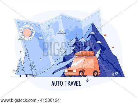 Car On Rocky Mountains Silhouette. Planning Summer Vacations World Travel By Car Summer Holiday, Tou
