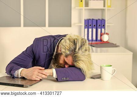 Fall Asleep. Workaholic Concept. Energy And Tiredness. Man Fell Asleep On Table. Guy Sleep At Workpl