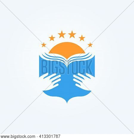 School Logo. Open Book In Palms And Sun. Knowledge And Education Symbol. Library And Bookstore Logot