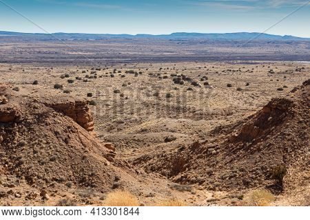 Expansive View Of The New Mexico Desert, Seen From Atop A Ridge In The Sevilleta National Wildlife R